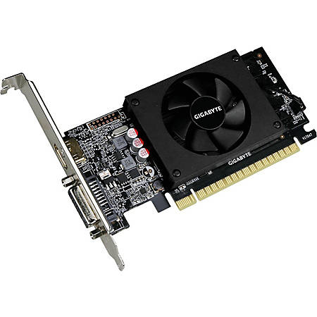 Gigabyte Ultra Durable 2 GV-N710D5-2GL GeForce GT 710 Graphic Card - 954 MHz Core - 2 GB GDDR5 - Low-profile - 64 bit Bus Width - Fan Cooler - OpenGL 4.5, DirectX 12 - 1 x HDMI - 1 x Total Number of DVI (1 x DVI-D) - Dual Link DVI Supported - PC