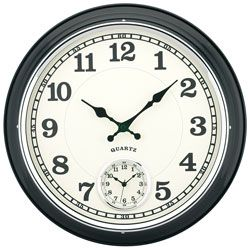 TEMPUS 16 Dual Time Zone Metal Wall Clock Black by Office Depot