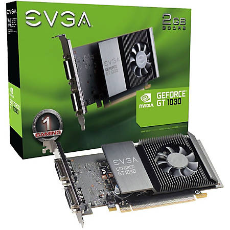 EVGA GeForce GT 1030 Graphic Card - 1.29 GHz Core - 1.54 GHz Boost Clock - 2 GB GDDR5 - Full-height - Single Slot Space Required - 64 bit Bus Width - Fan Cooler - OpenGL 4.5, DirectX 12, Vulkan - 2 x Total Number of DVI (1 x DVI-I, 1 x DVI-D) - Dual Link