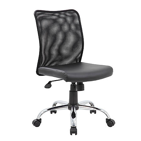 Boss Office Products Budget Vinyl Mid-Back Task Chair, Black