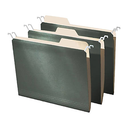 Find It® Tab-View Hanging File Folders, Letter Size, 70% Recycled, Green, Pack Of 20