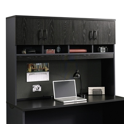 Sauder Via Collection Hutch For Credenza Bourbon Oak Soft Black Item 6894205