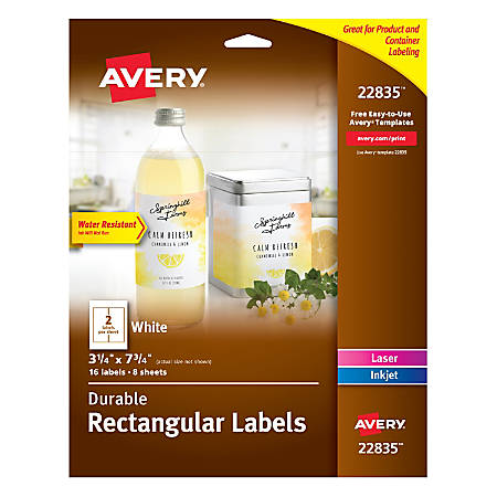 "Avery® Durable Wraparound Labels, 3 1/4"" x 7 3/4"", White, Pack Of 16 Labels"