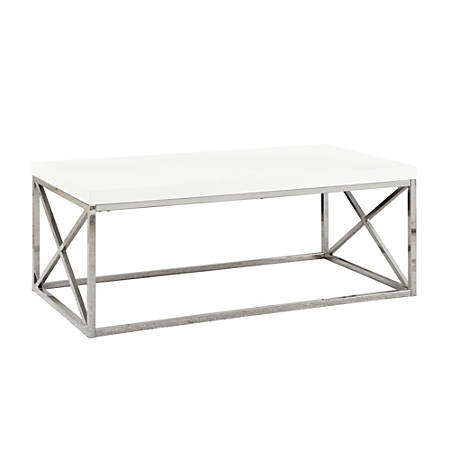 "Monarch Specialties Nathan Coffee Table, 17""H x 44""W x 22""D, White"