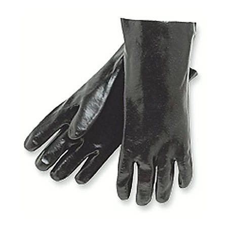 Memphis Glove Dipped PVC Gloves, Knit Wrist, One Size, Black, Box Of 12 Pairs