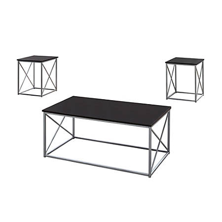 Monarch Specialties Accent End Table, Rectangular, Cappuccino/Silver