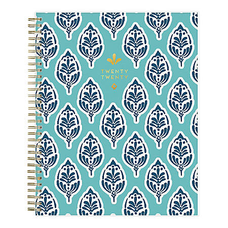 """Blue Sky™ Sullana Monthly Frosted Planner, 8"""" x 10"""", Navy/Teal, January To December 2020, 116046"""