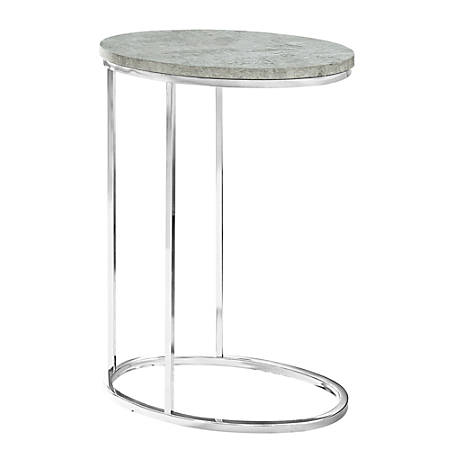 "Monarch Specialties Xavier Accent Table, 25""H x 12""W x 18-1/2""D, Gray Cement/Chrome"
