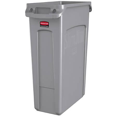 Rubbermaid® Plastic Trash Receptacle, Slim Jim, Rectangular, 23 Gallons, Gray