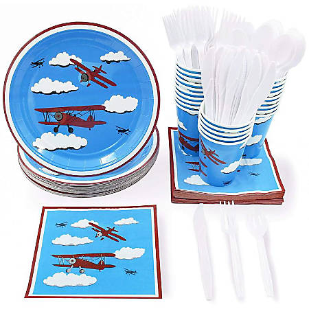 Airplane Party Supplies - Serves 24 - Includes Plates, Knives, Spoons, Forks, Cups And Napkins. Perfect Airplane Party Pack For Kids Airplane Themed Parties.