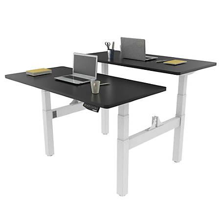 Loctek Height-Adjustable Dual Bench Desk, Black/White