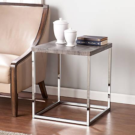 Southern Enterprises Glynn End Table, Square, Chrome/Gray