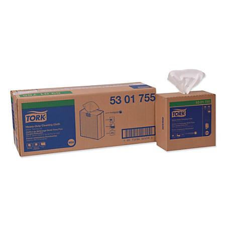 "Tork Heavy-Duty Microfiber Cleaning Cloths, 8-7/16"" x 16-1/8"", White, 80 Cloths Per Pack, Set Of 5 Packs"