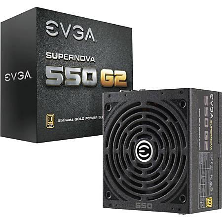 EVGA SuperNOVA 550 G2 Power Supply - Internal - 120 V AC, 230 V AC Input - 550 W / 3.3 V DC, 5 V DC, 12 V DC, -12 V DC, 5 V DC - 1 +12V Rails - 1 Fan(s) - ATI CrossFire Supported - NVIDIA SLI Supported - 90% Efficiency