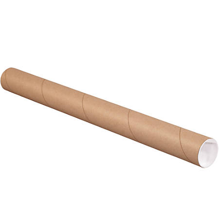 """Office Depot® Brand Kraft Mailing Tubes With Plastic Endcaps, 2"""" x 12"""", Pack Of 50"""