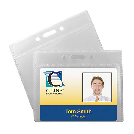 """C-Line® Poly ID Badge Holders, Horizontal, 2 1/2"""" x 3 1/2"""", Clear, 12 Badges Per Pack, Set Of 5 Packs"""