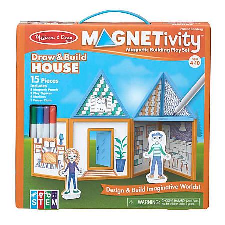 Melissa & Doug Children's Educational Toys, Magnetivity Draw & Build House
