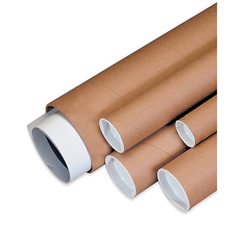 """Office Depot® Brand Kraft Mailing Tubes With Plastic Endcaps, 2"""" x 24"""", Pack Of 50"""
