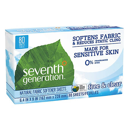 "Seventh Generation™ Free & Clear Natural Fabric Softener Sheets, 6-3/8"" x 9"", Box Of 80 Sheets"
