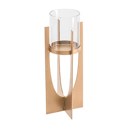 """Zuo Modern Equis Candle Holder, 11 1/4""""H x 4 5/16""""W x 4 5/16""""D, Gold"""
