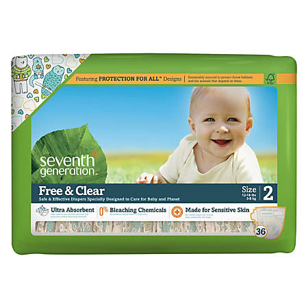 Seventh Generation® Free & Clear Baby Diapers, Size 2, 12 - 18 Lb, Pack Of 36 Diapers, Carton Of 4 Packs