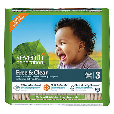 Seventh Generation® Free & Clear Baby Diapers, Size 3, 16 - 28 Lb, Pack Of 31 Diapers