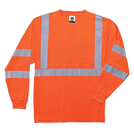 Ergodyne GloWear 8391 Type-R Class 3 Long-Sleeve T-Shirt, Large, Orange