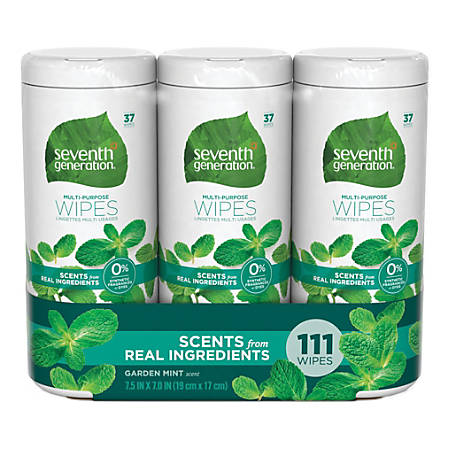 Seventh Generation™ Multi-Purpose Wipes, Mint Scent, 37 Wipes Per Container, Pack Of 4 Containers