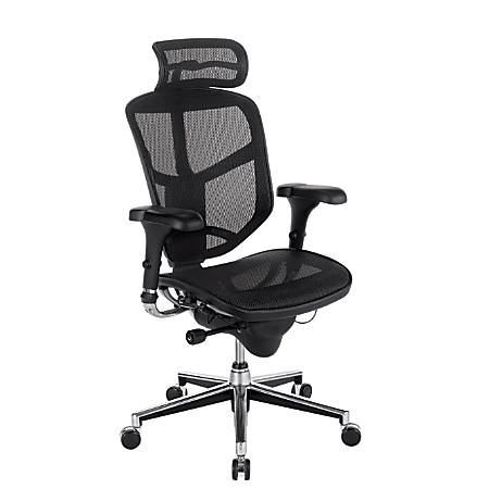 WorkPro® Quantum 9000 Series Ergonomic Mesh High-Back Chair With Headrest, Black