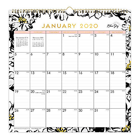 "Blue Sky™ Monthly Safety Wirebound Wall Calendar, 12"" x 12"", Baccara Light, January To December 2020, 116073"