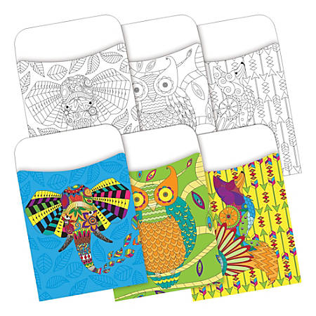 "Barker Creek Peel & Stick 2-Design Pockets, 3-1/2"" x 5-1/8"", Bohemian Animals, Set Of 60"