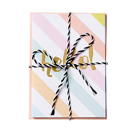 """Sincerely A Collection by C.R. Gibson® Baker's Twine Note Cards With Envelopes, 4 1/4"""" x 6"""", Pastel Stripe Hello, Blank Inside, Bag Of 8"""