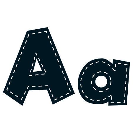 "Teacher Created Resources Fun Font Letters, 4"", Black Stitch, Pre-K - Grade 8, Pack Of 160"