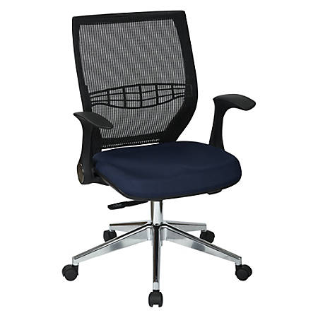 Office Star™ Pro-Line II ProGrid Fabric High-Back Chair, Navy/Black/Silver