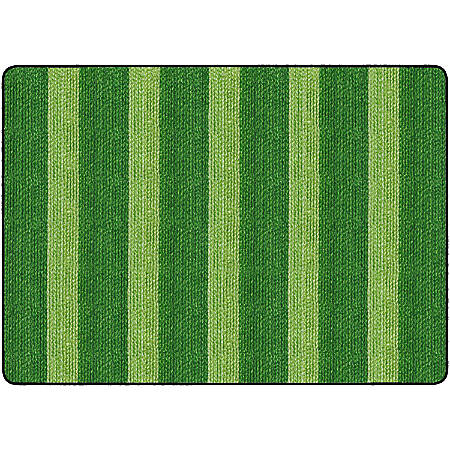 Flagship Carpets Basketweave Stripes Classroom Rug, 6' x 8 3/8', Green