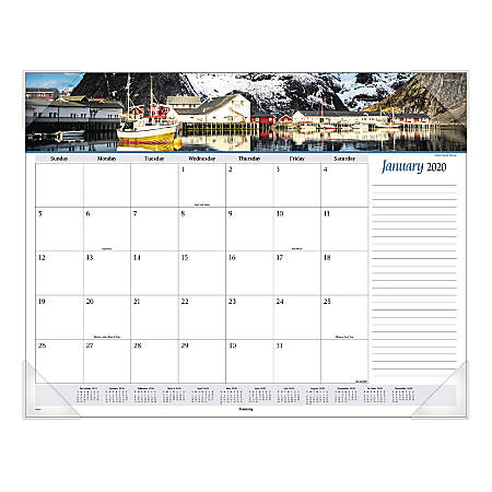 "AT-A-GLANCE® Seascape Panoramic Monthly Desk Pad, 22"" x 17"", Multicolor, January To December 2020, 89803"