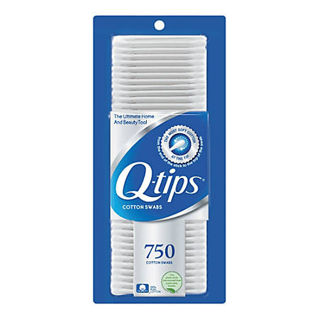 "Q-Tips Cotton Swabs, 1"", White, 750 Per Box, Pack Of 12 Boxes"