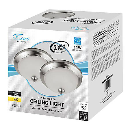 "Euri Indoor Round LED Ceiling Light Fixtures, 11"", Dimmable, 3000K, 11 Watts, 900 Lumens, Brushed Nickel/Etched Glass, Pack Of 2 Fixtures"