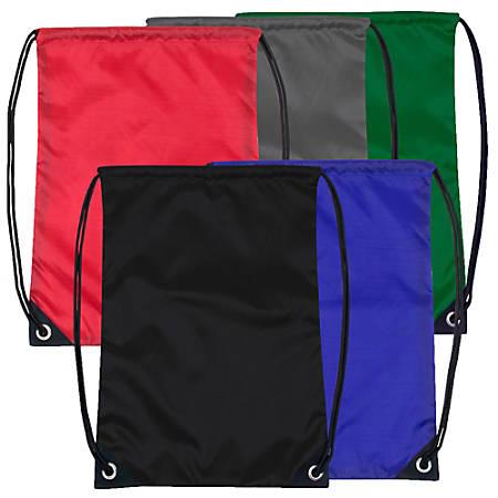 Trailmaker Polyester Drawstring Backpacks, Assorted Colors, Case Of 48 Backpacks