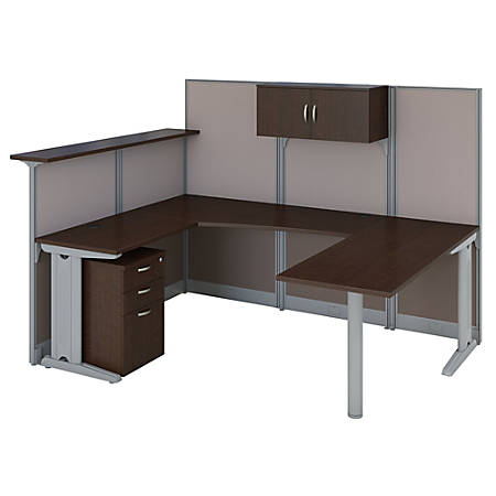 Bush Business Furniture Office in an Hour U Shaped Reception Desk with Storage, Mocha Cherry, Premium Installation