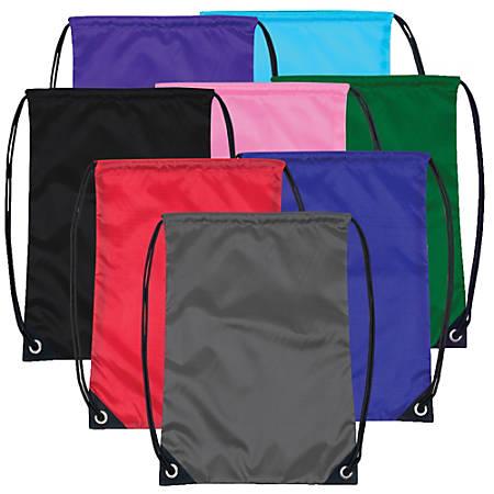 Trailmaker Basic Drawstring Backpacks, Assorted Colors, Case Of 48 Backpacks