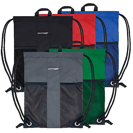 Trailmaker Drawstring Backpacks, Assorted Colors, Case Of 48 Backpacks