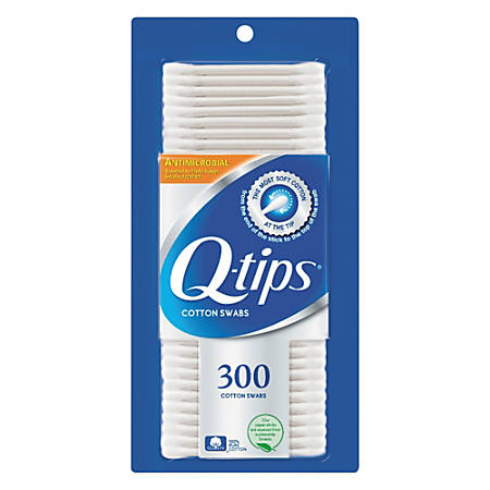 """Q-tips Antimicrobial Cotton Swabs, 1"""", White, Box Of 300 Swabs"""