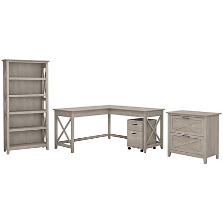 "Bush Furniture Key West 60""W L Shaped Desk with File Cabinets and 5 Shelf Bookcase, Washed Gray, Standard Delivery"
