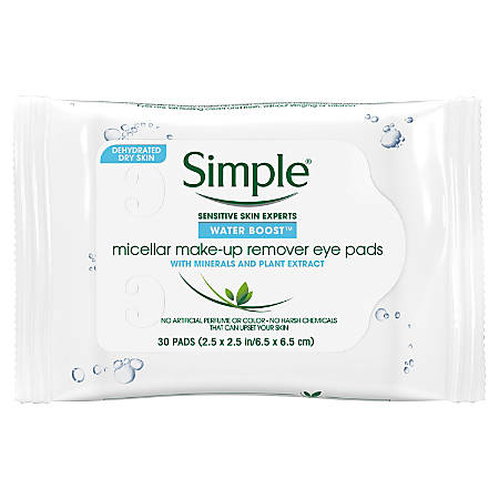 Simple Eye Make-Up Remover Pads, 30 Pads Per Pouch, Carton Of 6 Pouches