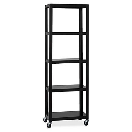 Lorell® Steel Mobile Series Bookcase, 4-Shelf, 6'H, Black