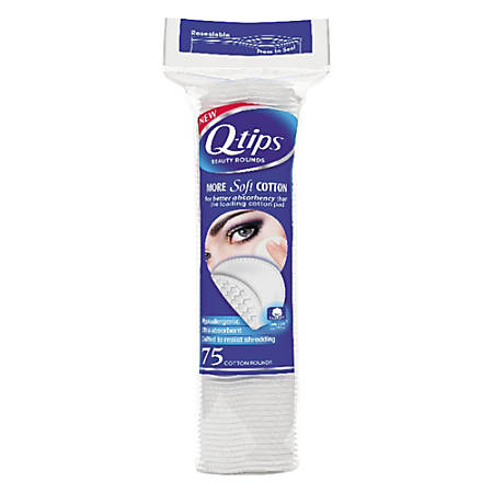 """Q-tips Beauty Rounds, 2-1/4"""", White, Pack Of 75 Rounds, Box Of 24 Packs"""