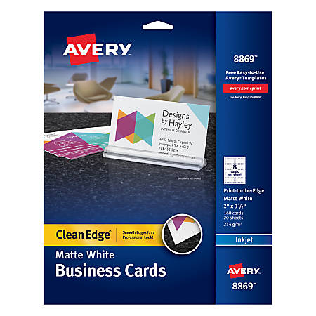 """Avery® Inkjet Clean-Edge Business Cards, 2"""" x 3 1/2"""", White Matte, Pack Of 160"""