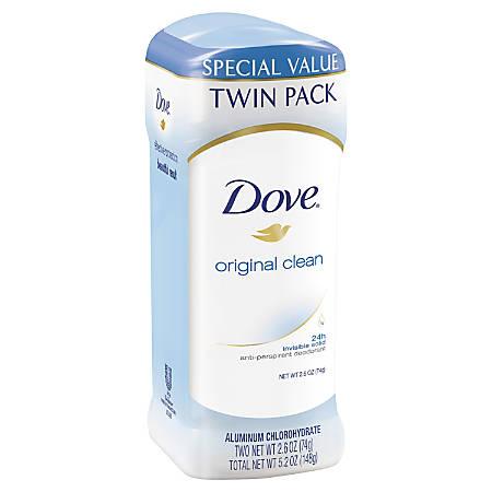 Dove Invisible Solid Original Scent Antiperspirant Deodorant, 2.6 Oz, Pack Of 2 Deodorants