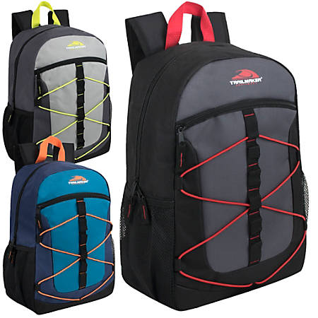 Trailmaker Equipment Bungee Backpacks, Assorted Colors, Case Of 24 Backpacks